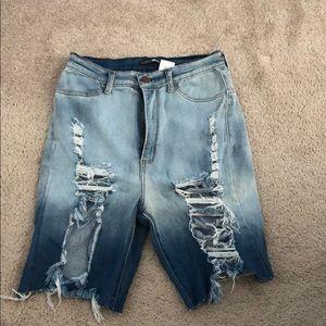FASHION NOVA Distressed Bermuda Jean Shorts Sz 1X